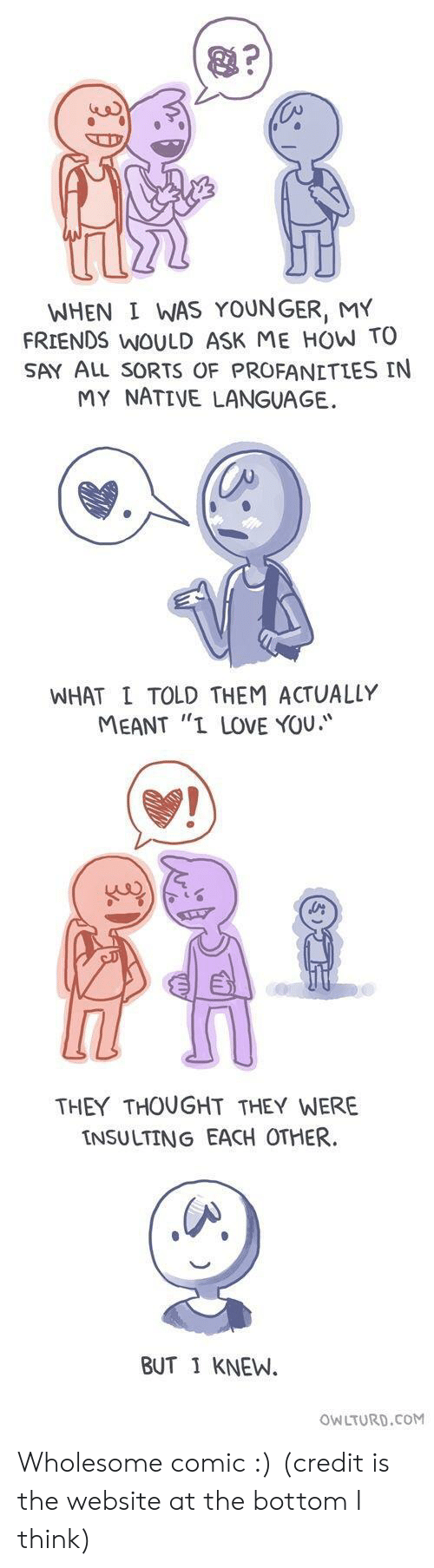 "Friends, Love, and I Love You: WHEN I WAS YOUNGER, MY  FRIENDS WOULD ASK ME HOW TO  SAY ALL sORTS OF PROFANETLES IN  MY NATIVE LANGUAGE.  WHAT L TOLD THEM ACTUALLY  MEANT ""I LOVE YOU.  THEY THOUGHT THEY WERE  INSULTING EACH OTHER  BUT 1 KNEW.  OWLTURD.CoM Wholesome comic :) (credit is the website at the bottom I think)"