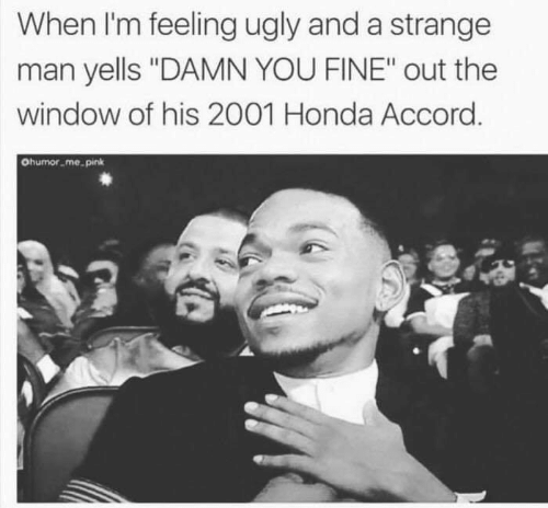 "Honda, Memes, and Ugly: When I'm feeling ugly and a strange  man yells ""DAMN YOU FINE"" out the  window of his 2001 Honda Accord  Ohumor me pink"