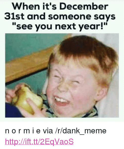 "See You Next Year: When it's December  31st and someone says  ""see you next year!"" <p>n o r m i e via /r/dank_meme <a href=""http://ift.tt/2EqVaoS"">http://ift.tt/2EqVaoS</a></p>"
