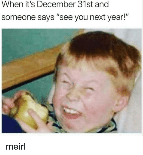 """See You Next Year: When it's December 31st and  someone says """"see you next year!"""" meirl"""