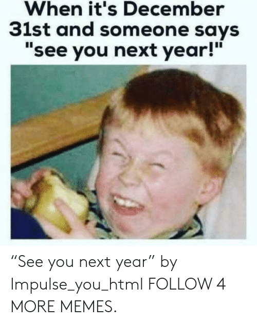 """See You Next Year: When it's December  31st and someone says  """"see you next year!"""" """"See you next year"""" by Impulse_you_html FOLLOW 4 MORE MEMES."""