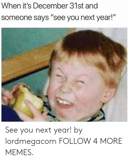 "See You Next Year: When it's December 31st and  someone says ""see you next year!"" See you next year! by lordmegacom FOLLOW 4 MORE MEMES."
