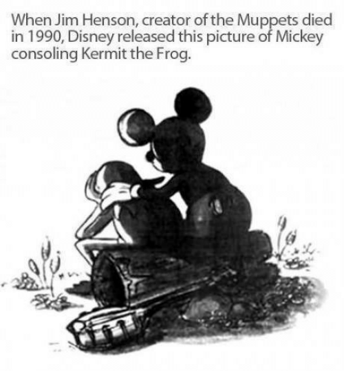 Kermit the Frog: When Jim Henson, creator of the Muppets died  in 1990, Disney released this picture of Mickey  consoling Kermit the Frog