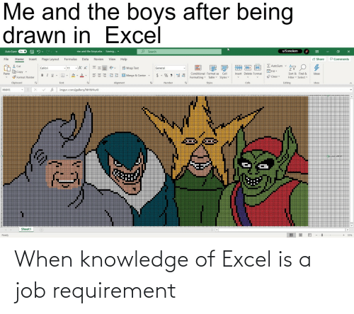 job: When knowledge of Excel is a job requirement