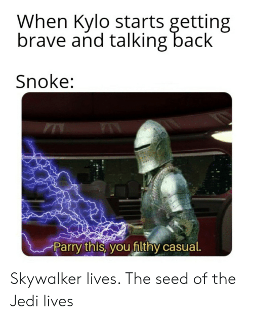 Jedi, Brave, and Back: When Kylo starts getting  brave and talking back  Snoke:  Parry!! histv/ OU filthy casual Skywalker lives. The seed of the Jedi lives