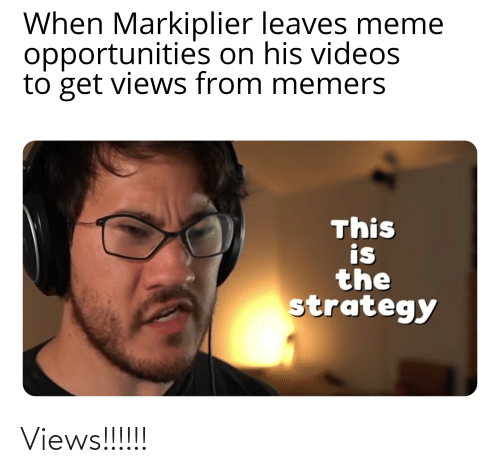 Views From: When Markiplier leaves meme  opportunities on his videos  to get views from memers  This  is  the  strategy Views!!!!!!
