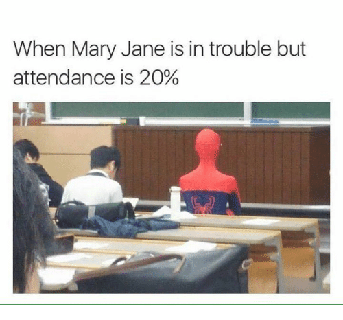 mary janes: When Mary Jane is in trouble but  attendance is 20%