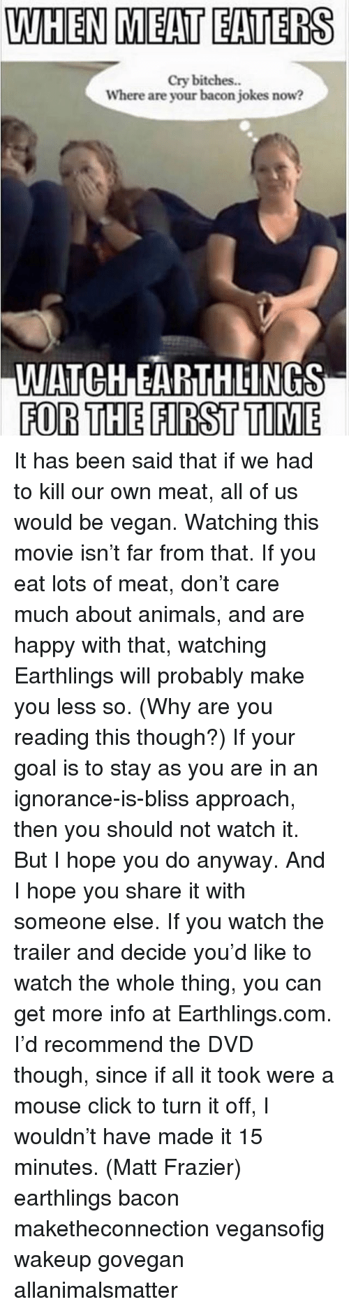 Animals, Click, and Memes: WHEN MEAT EATERS  cry bitches.  Where are your bacon jokes now?  IWATCHDEARTHLINGS  FOR THE FIRST TIME It has been said that if we had to kill our own meat, all of us would be vegan. Watching this movie isn't far from that. If you eat lots of meat, don't care much about animals, and are happy with that, watching Earthlings will probably make you less so. (Why are you reading this though?) If your goal is to stay as you are in an ignorance-is-bliss approach, then you should not watch it. But I hope you do anyway. And I hope you share it with someone else. If you watch the trailer and decide you'd like to watch the whole thing, you can get more info at Earthlings.com. I'd recommend the DVD though, since if all it took were a mouse click to turn it off, I wouldn't have made it 15 minutes. (Matt Frazier) earthlings bacon maketheconnection vegansofig wakeup govegan allanimalsmatter