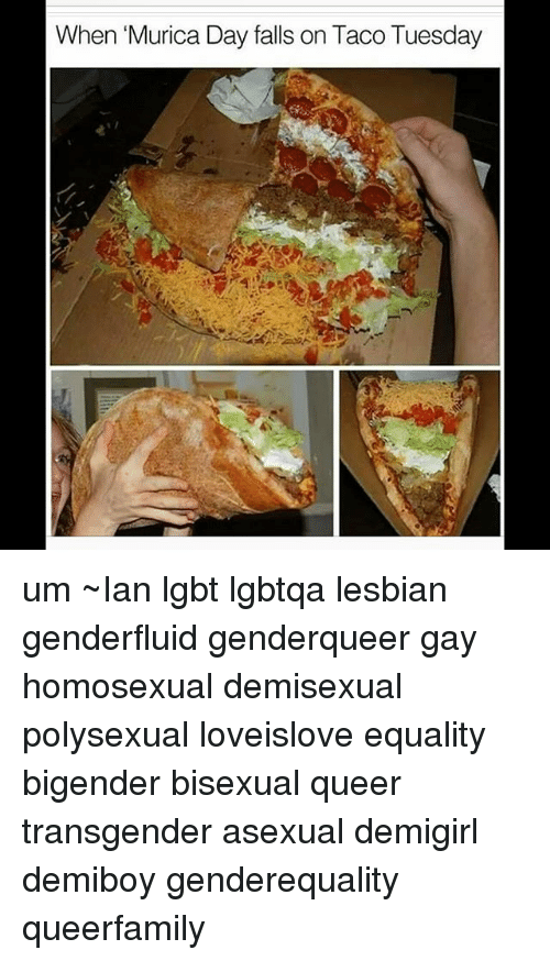 taco tuesday: When 'Murica Day falls on Taco Tuesday um ~Ian lgbt lgbtqa lesbian genderfluid genderqueer gay homosexual demisexual polysexual loveislove equality bigender bisexual queer transgender asexual demigirl demiboy genderequality queerfamily