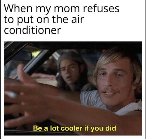 my mom: When my mom refuses  to put on the air  conditioner  Be a lot cooler if you did