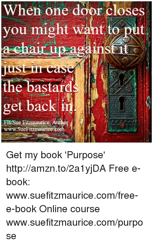 Memes, Book, and Free: When one door closes  you might want to put  chair up ag  the bastard  get back in  t  e Fitzmaurice Autho  H  maurice Get my book 'Purpose' http://amzn.to/2a1yjDA Free e-book: www.suefitzmaurice.com/free-e-book Online course www.suefitzmaurice.com/purpose