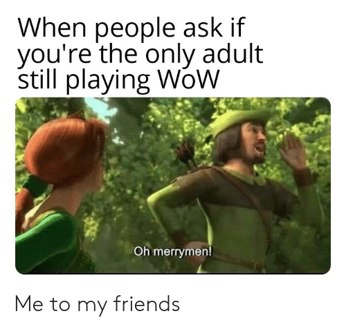 Friends, Reddit, and Wow: When people ask if  you're the only adult  still playing WoW  Oh merrymen! Me to my friends
