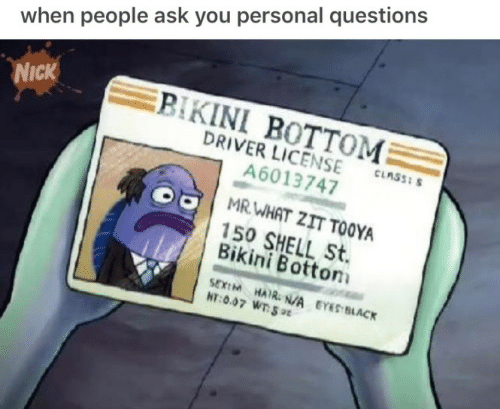 Bikini Bottom: when people ask you personal questions  BIKINI BOTTOM  DRIVER LICENSE  A6013747  NICK  CLASS: S  MRWHAT ZIT TOOYA  150 SHELL St.  Bikini Bottom  SEXIM HAIR. N/A EYES BLACK  HT:0.07 WT 9
