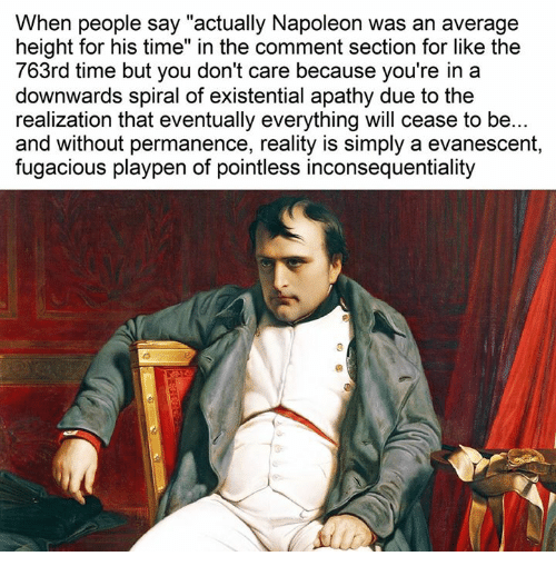 """Evanescence, Apathy, and Time: When people say """"actually Napoleon was an average  height for his time"""" in the comment section for like the  763rd time but you don't care because you're in a  downwards spiral of existential apathy due to the  realization that eventually everything will cease to be...  and without permanence, reality is simply a evanescent,  fugacious playpen of pointless inconsequentiality"""