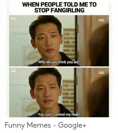 Funny, Google, and Memes: WHEN PEOPLE TOLD ME TO  STOP FANGIRLING  SBS  Who do you think you are?  TROL  SBS  You can't control my heart.  HHH  HHH Funny Memes - Google+