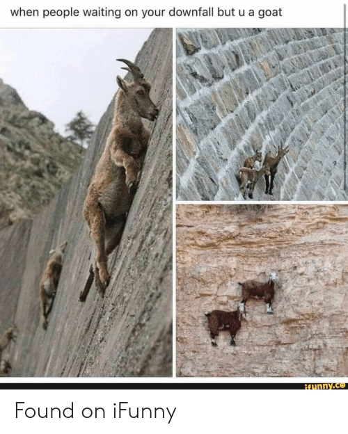 People Waiting: when people waiting on your downfall but u a goat  ifunny.co Found on iFunny