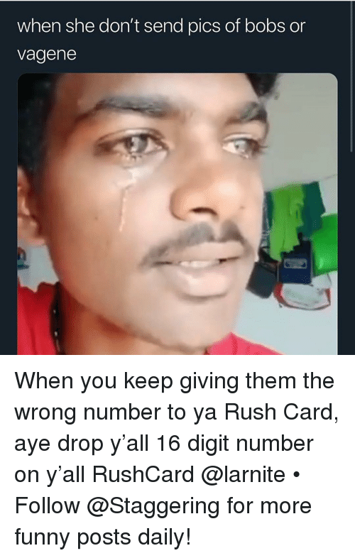 Bobs: when she don't send pics of bobs or  vagene When you keep giving them the wrong number to ya Rush Card, aye drop y'all 16 digit number on y'all RushCard @larnite • ➫➫➫ Follow @Staggering for more funny posts daily!