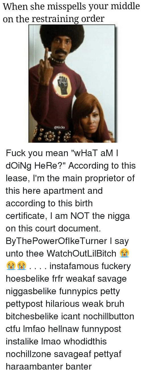 "Fuck You Meaning: When she misspells your middle  on the restraining order  @6icks Fuck you mean ""wHaT aM I dOiNg HeRe?"" According to this lease, I'm the main proprietor of this here apartment and according to this birth certificate, I am NOT the nigga on this court document. ByThePowerOfIkeTurner I say unto thee WatchOutLilBitch 😭😭😭 . . . . instafamous fuckery hoesbelike frfr weakaf savage niggasbelike funnypics petty pettypost hilarious weak bruh bitchesbelike icant nochillbutton ctfu lmfao hellnaw funnypost instalike lmao whodidthis nochillzone savageaf pettyaf haraambanter banter"
