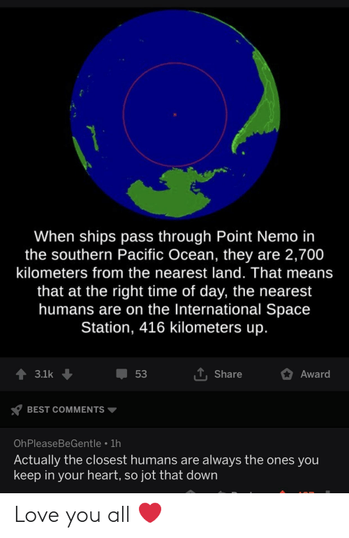 the international: When ships pass through Point Nemo in  the southern Pacific Ocean, they are 2,700  kilometers from the nearest land. That means  that at the right time of day, the nearest  humans are on the International Space  Station, 416 kilometers up  Share  53  3.1k  Award  BEST COMMENTS  OhPleaseBeGentle 1h  Actually the closest humans are always the ones you  keep in your heart, so jot that down Love you all ❤️