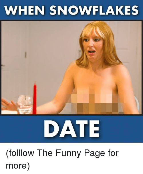 Funny, Memes, and Date: WHEN SNOWFLAKES  DATE (folllow The Funny Page for more)