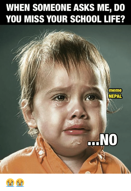 Life Meme: WHEN SOMEONE ASKS ME, DO  YOU MISS YOUR SCHOOL LIFE?  meme  NEPAL  .NO 😭😭