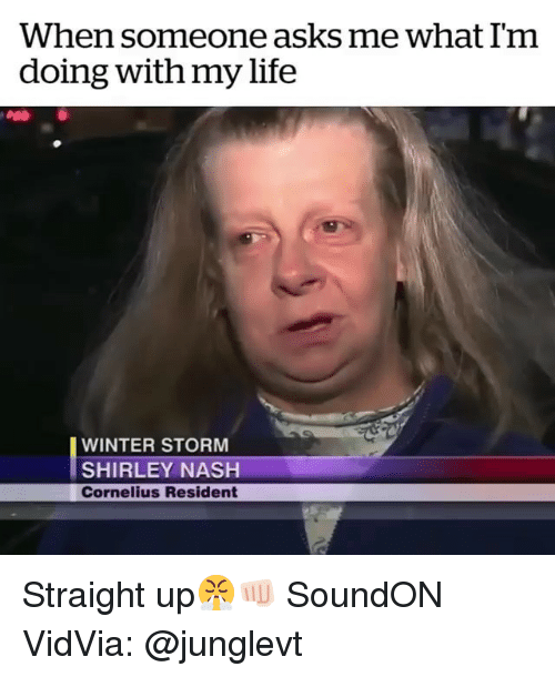 shirley: When someone asks me what Im  doing with my life  WINTER STORM  SHIRLEY NASH  Cornelius Resident Straight up😤👊🏻 SoundON VidVia: @junglevt
