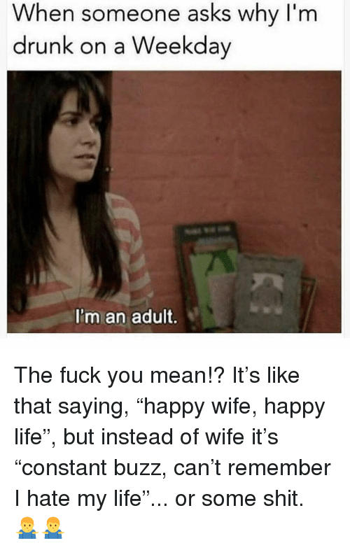 "The Fuck You Mean: When someone asks why I'm  drunk on a Weekday  I'm an adult. The fuck you mean!? It's like that saying, ""happy wife, happy life"", but instead of wife it's ""constant buzz, can't remember I hate my life""... or some shit. 🤷‍♂️🤷‍♂️"