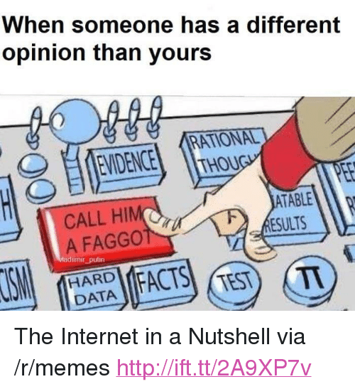"Internet, Memes, and Http: When someone has a different  opinion than yours  EVIDENCE  RATIONAL  THOU  CALL HIM(  A FAGGO  ESULTS  adimir_putin  HARD  11 DATA  TEST T <p>The Internet in a Nutshell via /r/memes <a href=""http://ift.tt/2A9XP7v"">http://ift.tt/2A9XP7v</a></p>"