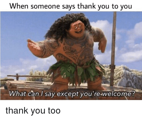 Except You: When someone says thank you to you  What can I say except you re-welcome thank you too