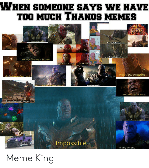 """Meme, Memes, and Sorry: WHEN SOMEONE SAYS WE HAVE  TOO MUCH THANOS MEMES  i  Aamalpwice to pay far  Perfectly balance...  Di you do it?  Yes.  As all thingsshould be.  I used the stones to destroy the stones  What did it cus  Everylhin  Reality is often disappethting  Reality can be whatever want  don't even kmow ho you are  """"Iam inevitable.""""  Gone. Reduced to aloms.  They called me a madman  Asmal price to pay for savatkon.  Impossible.  I'm sorry, little one. Meme King"""