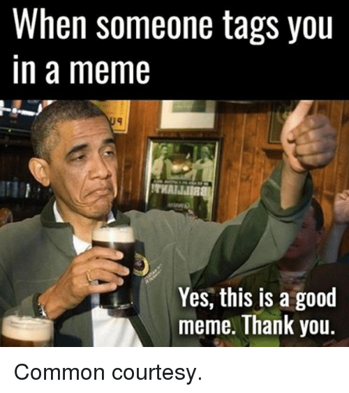 Meme Thanks: When someone tags you  In a meme  Yes, this is a good  meme. Thank you Common courtesy.