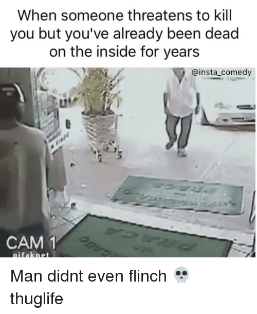 Insta Comedy: When someone threatens to kill  you but you've already been dead  on the inside for years  @insta comedy  CAM 1  gifak net Man didnt even flinch 💀 thuglife