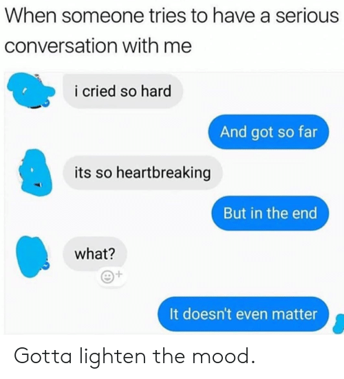 Dank, Mood, and 🤖: When someone tries to have a serious  conversation with me  i cried so hard  And got so far  its so heartbreaking  But in the end  what?  It doesn't even matter Gotta lighten the mood.