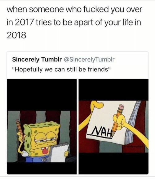 """we can still be friends: when someone who fucked you over  in 2017 tries to be apart of your life in  2018  Sincerely Tumblr @SincerelyTumblr  """"Hopefully we can still be friends"""""""