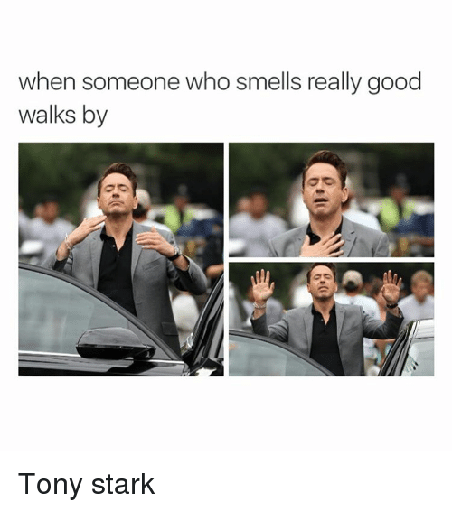 When Someone Who Smells Really Good Walks By Tony Stark Smell Meme