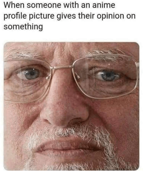 Profile Picture: When someone with an anime  profile picture gives their opinion on  something