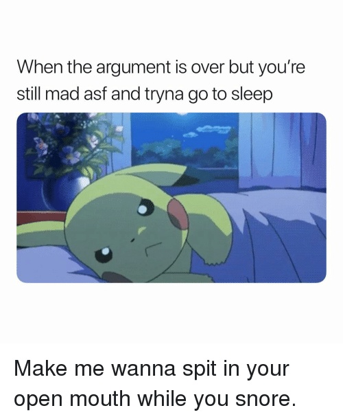 Go to Sleep, Dank Memes, and Mad: When the argument is over but you're  still mad asf and tryna go to sleep Make me wanna spit in your open mouth while you snore.