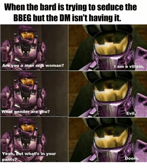 bard: When the bard is trying to seduce the  BBEG but the DM isn't having it.  Are you a man or a woman?  I am a villain.  What gender are you?  Evil  Yeah, but what's in your  pants?  Doom.