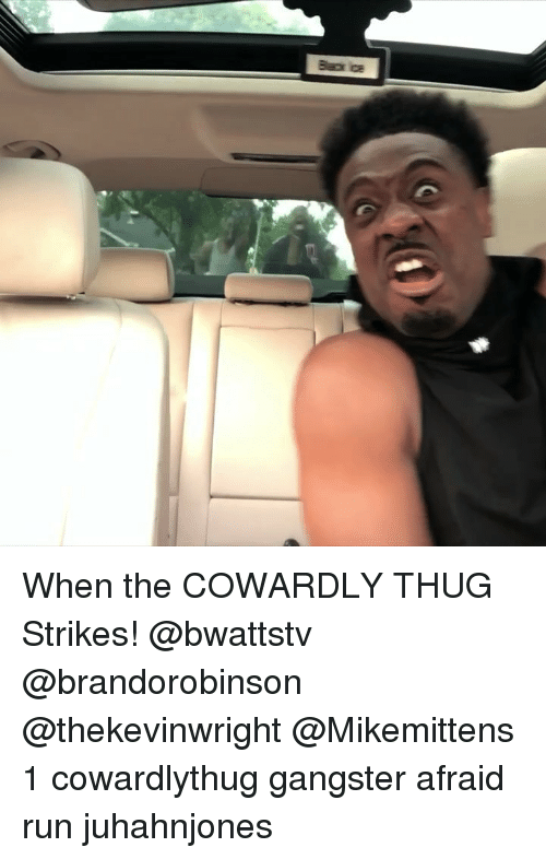Memes, Run, and Thug: When the COWARDLY THUG Strikes! @bwattstv @brandorobinson @thekevinwright @Mikemittens 1 cowardlythug gangster afraid run juhahnjones