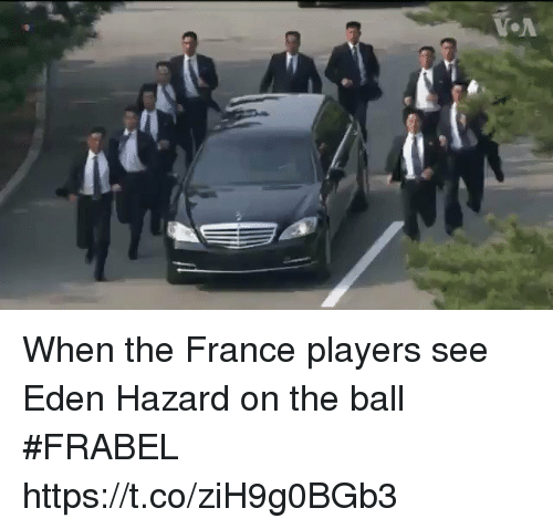 Soccer, France, and Eden Hazard: When the France players see Eden Hazard on the ball #FRABEL https://t.co/ziH9g0BGb3