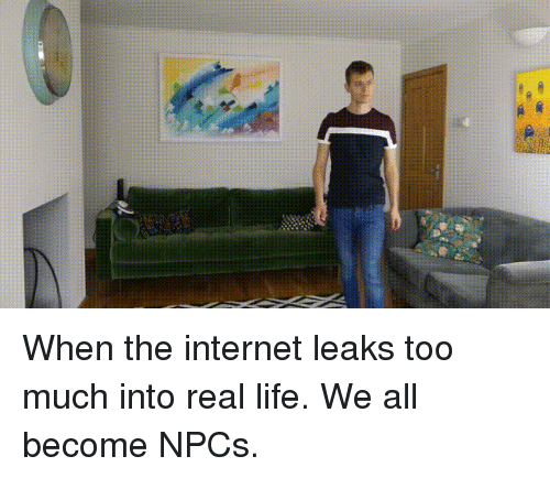 Internet, Life, and Too Much: When the internet leaks too much into real life. We all become NPCs.