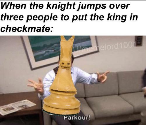 king: When the knight jumps over  three people to put the king in  checkmate:  emelord100  BRE  Parkour!