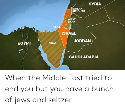 east: When the Middle East tried to end you but you have a bunch of jews and seltzer