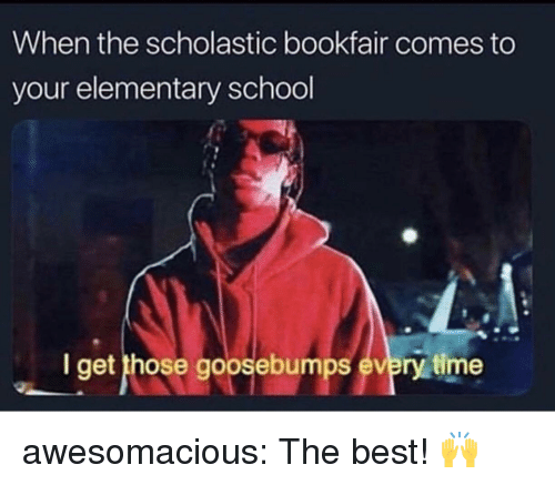 goosebumps: When the scholastic bookfair comes to  your elementary school  I get those goosebumps every time awesomacious:  The best! 🙌