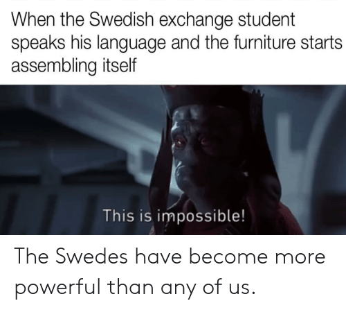 Furniture, Powerful, and Swedish: When the Swedish exchange student  speaks his language and the furniture starts  assembling itself  This is impossible! The Swedes have become more powerful than any of us.