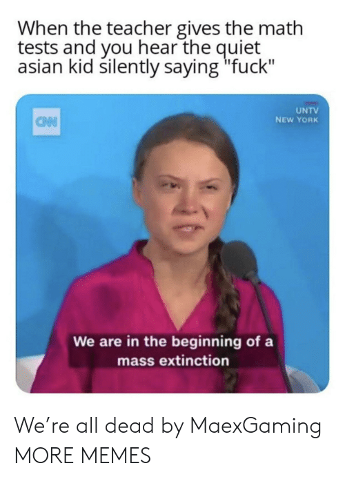 """New York: When the teacher gives the math  tests and you hear the quiet  asian kid silently saying """"fuck""""  UNTV  NEW YORK  CAN  We are in the beginning of a  mass extinction We're all dead by MaexGaming MORE MEMES"""