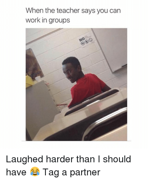 Teacher, Work, and Girl: When the teacher says you can  work in groups Laughed harder than I should have 😂 Tag a partner