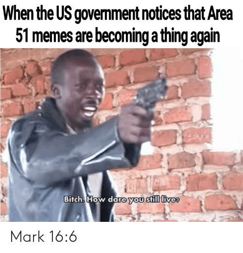 Bitch, Memes, and Government: When the US government notices that Area  51 memes are becoming a thing again  Bitch How dare you still livee Mark 16:6