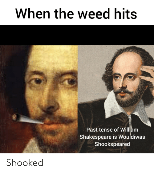 Shakespeare: When the weed hits  Past tense of William  Shakespeare is Wouldiwas  Shookspeared Shooked