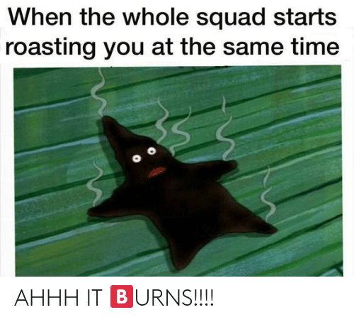 Squad: When the whole squad starts  roasting you at the same time AHHH IT 🅱URNS!!!!